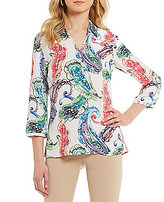 Investments Collared V-Neck 3/4 Sleeve Printed Top