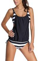 Spring fever Casual Sporty Stripes lined Double Up Tankini Top Bikini Swimsuit