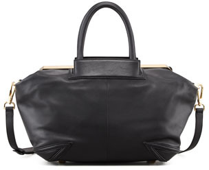 Brian Atwood Sophia Leather Satchel Bag, Black