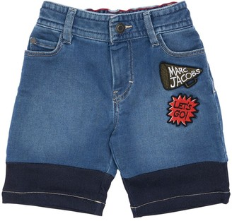 Little Marc Jacobs Stretch Cotton Denim Shorts W/ Patches
