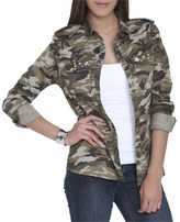 Wet Seal WetSeal Jeweled Camo Shirt Camouflage