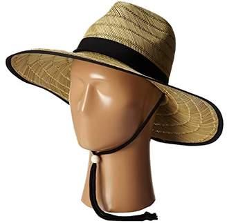 San Diego Hat Company RSL5556 Rush Straw Lifeguard w/ Band and Chin Cord (Black) Caps