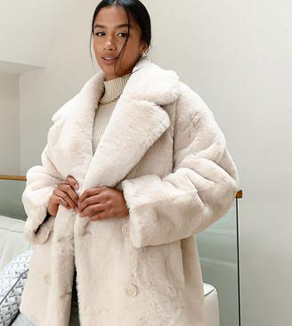 ASOS DESIGN Petite oversized collared coat in faux fur in cream