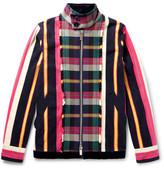 Sacai Velvet-Trimmed Patterned Cotton-Flannel Jacket