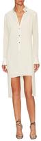 Halston Silk Tuxedo Shirt Dress