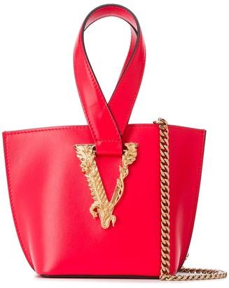 Versace small V-logo tote bag