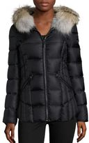 Dawn Levy Niki Fur-Trim Hooded Down Puffer Jacket