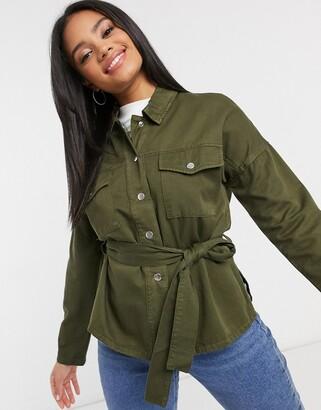 Miss Selfridge khaki belted jacket in khaki