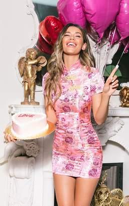 PrettyLittleThing Pink Oriental Jacquard Bodycon Dress