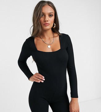 ASOS DESIGN petite jersey square neck rib short unitard in black