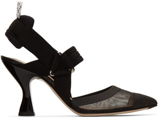 Fendi Black Colibri 85 Slingback Heels