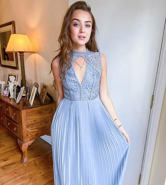 TFNC Petite bridesmaid lace detail maxi dress in blue