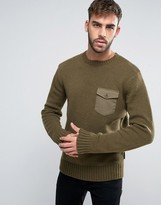 French Connection Military Style Pocket Knitted Sweater
