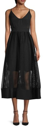 Toccin Mesh-Overlay Midi Dress