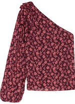 Ulla Johnson Enid One-shoulder Printed Cotton And Silk-blend Blouse - Burgundy
