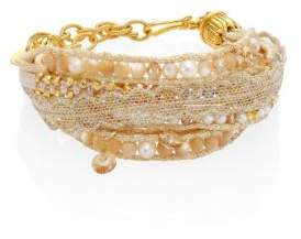 Chan Luu 3-4 White Freshwater Pearl& Natural Mix Multi-Layer Bracelet