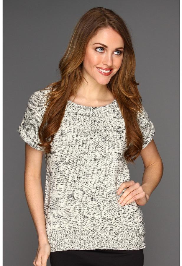 Halston Short Sleeve Crewneck Sweatshirt Pullover (Black/White) - Apparel