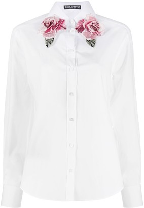 Dolce & Gabbana Sequin Rose Collar Shirt