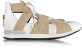 Vionnet White Leather and Beige Mesh Sneakers
