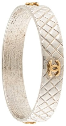 Chanel Pre Owned CC Logos Silver Bangle