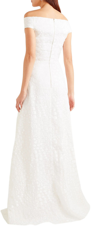 Thumbnail for your product : Roland Mouret Gildin Off-the-shoulder Pleated Fil Coupe Organza Gown