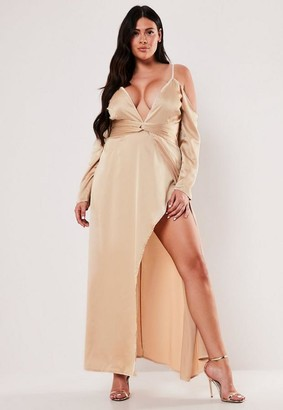 Missguided Size Champagne Cold Shoulder Plunge Maxi Dress