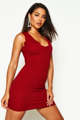 boohoo Scalloped Edge Bodycon Dress