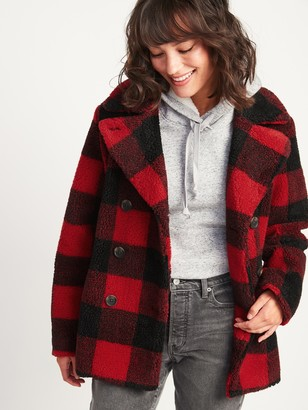 Old Navy Cozy Plaid Sherpa Peacoat for Women