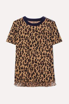 Sacai Leopard-print Cotton-corduroy And Crepe T-shirt - Beige