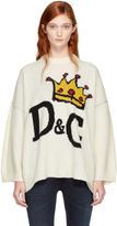 Dolce & Gabbana White Crowned Logo Sweater