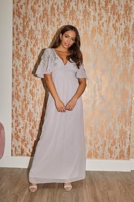 Little Mistress Bridesmaid Vikki Grey Embellished Maxi Dress