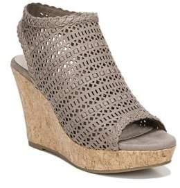 Fergalicious Kealey Laser-Cut Cork Wedge Sandals