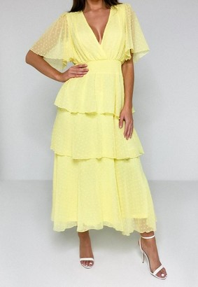 Missguided Lemon Dobby Mesh Tiered Wrap Midi Dress