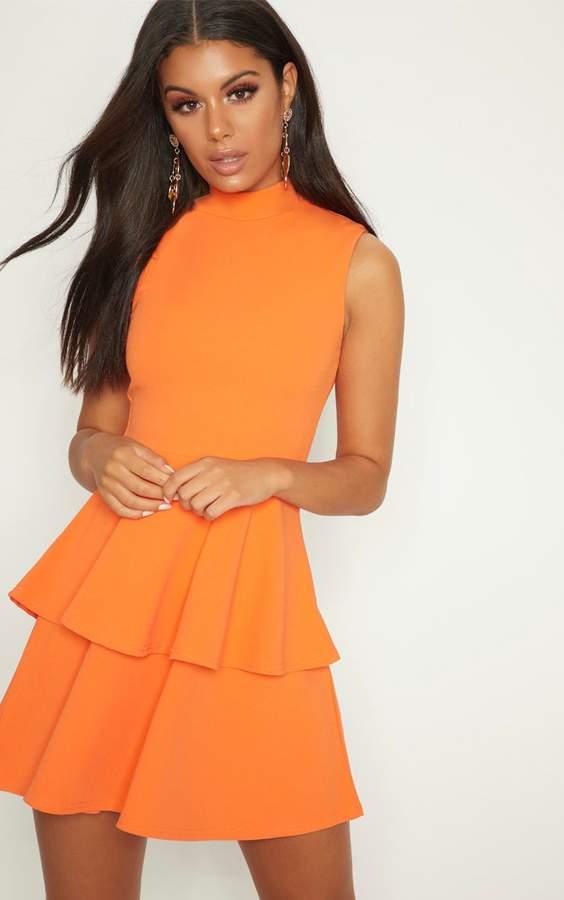 PrettyLittleThing Bright Orange Sleeveless Shoulder Pad Detail Tiered Skater Dress
