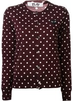 Comme des Garcons embroidered heart polka dot cardigan - women - Wool - XS