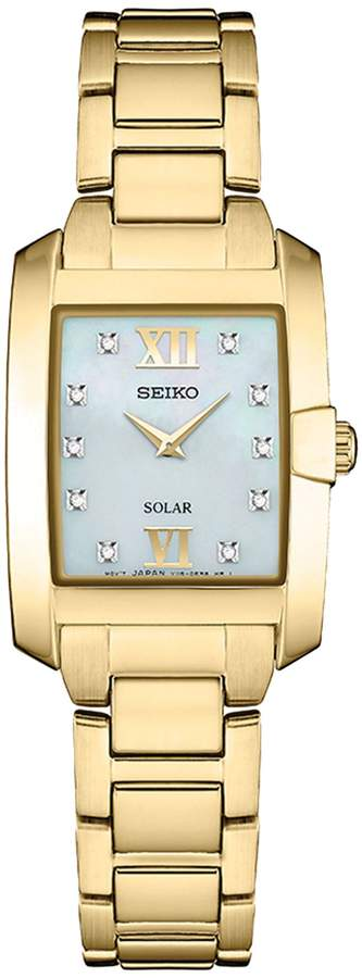 Seiko Women's Goldtone Stainless Rectangular Solar Watch