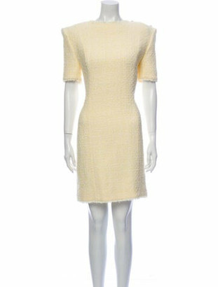 Balmain Bateau Neckline Knee-Length Dress Yellow