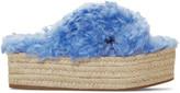 Miu Miu Blue Eco Fur Cross Sandals