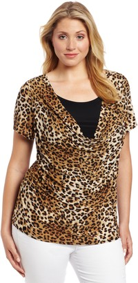Star Vixen Women's Plus-Size Short Sleeve Print Twofer Top with Solid Inset