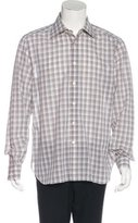 Kiton Plaid Linen-Blend Shirt