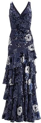 Marchesa Floral V-Neck Velvet Burnout Gown
