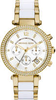 MICHAEL Michael Kors 39mm Crystal Chronograph Bracelet Watch, White/Yellow