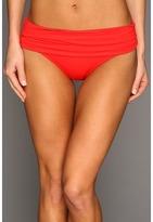 Calvin Klein Pleated Foldover Full Coverage Bikini Bottom (Fiery Red) - Apparel