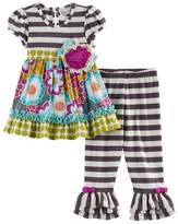 Rare Editions Toddler Girl Multi-Patterned Top & Striped Leggings Set