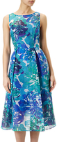 Adrianna Papell Sleeveless Ribbed Organza Floral Midi Dress, Blue/Multi