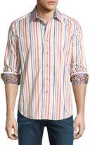 Robert Graham Stripe-Print Long-Sleeve Sport Shirt, White