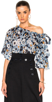Chloé Small Flower Print Gaufre Blouse in Blue,Floral.
