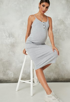 Missguided Grey Ribbed Button Front Maternity Midaxi Dress