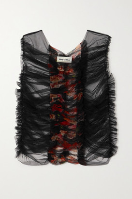 Molly Goddard Tarquin Floral-print Ruched Tulle Top - Black