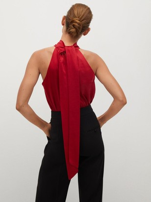 MANGO High Neck Blouse - Red